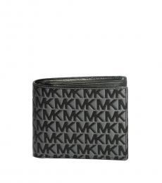 Michael Kors Black-Grey Raised Logo Passcase ID Wallet