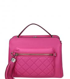 Moschino Pink Fringes Small Satchel