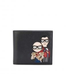 Dolce & Gabbana Black Front Designer Patch Wallet