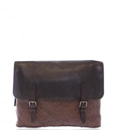Dolce & Gabbana Brown Textured Large Crossbody