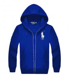 Royal Blue Silver Pony Zipper Hoodie