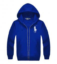 Ralph Lauren Royal Blue Silver Pony Zipper Hoodie