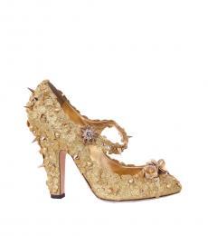Gold Glitter Floral Princess Heels