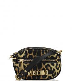 Moschino Leopard Print Logo Mini Crossbody