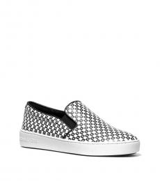Michael Kors Black White Keaton Checkerboard Logo Loafers