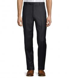 Armani Collezioni Black Solid Virgin Wool Trousers