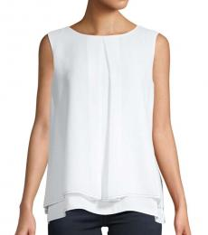 White Overlay Sleeveless Top