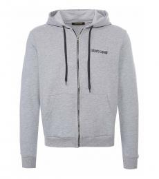Roberto Cavalli Grey Logo Graphic Sweatshirt