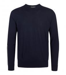 Dolce & Gabbana Dark Blue Solid Sweater