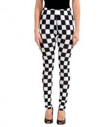 Versus Versace BlackWhite Check Print Stretch Leggings