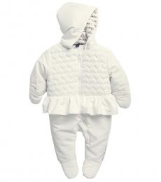 Calvin Klein Baby Girls Ivory Quilted Heart Pramsuit