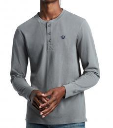 Charcoal Long Sleeve Henley T-Shirt