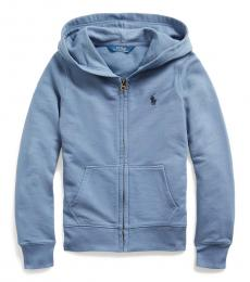 Ralph Lauren Little Girls Capri Blue French Terry Full-Zip Hoodie