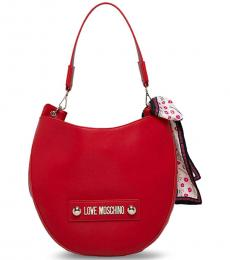 Love Moschino Red Round Large Hobo