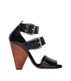 Black Croc Print Leather Heels