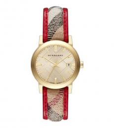 Burberry Red Check Strap Watch