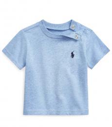 Ralph Lauren Baby Boys Cobalt Heather Crewneck T-Shirt