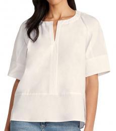 White Elbow Sleeve Top