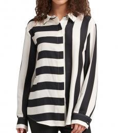 BlackWhite Mixed-Stripe Button-Up Shirt