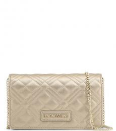 Love Moschino Pale Gold Quilted Chain Small Crossbody