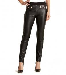 Karl Lagerfeld Black Faux Leather Zip Detail Leggings