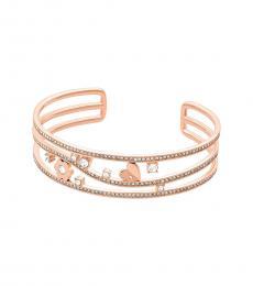Michael Kors Rose Gold Flower Crystal Cuff Bracelet