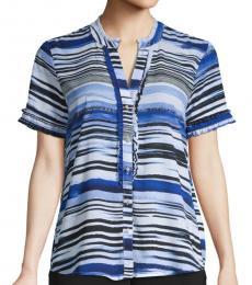 Karl Lagerfeld Cornflower Striped Short-Sleeve Shirt