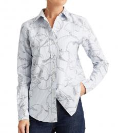Ralph Lauren Silk White Slim-Fit Printed Oxford Shirt