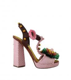 Pink Rafia Crystal Heels