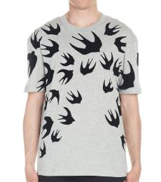 McQ Alexander McQueen Grey Dropped patch t-shirt