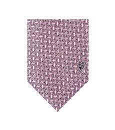 Pink Geometric Silk Tie