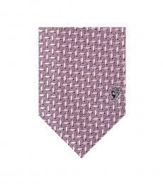 Versace Pink Geometric Silk Tie