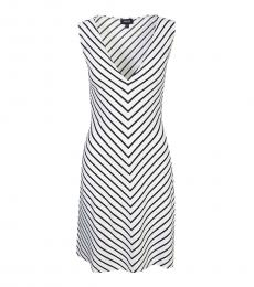 Armani Jeans White ColorBlock Stripe Dress