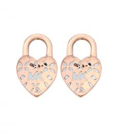 Rose Gold Logo Heart Lock Stud Earrings