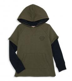 True Religion Little Boys Militant Graphic Logo Layered Hoodie