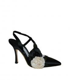 Black Floral Satin Heels