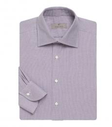 Canali Purple Microdot Long Sleeve Shirt