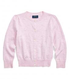 Ralph Lauren Little Girls Carmel Pink Knit-Heart Cardigan