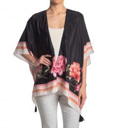 Vince Camuto Black Floral Border Print Kimono