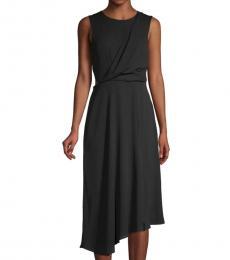 Black Asymmetric Midi Dress