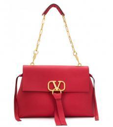 Red V Ring Large Shoulder Bag