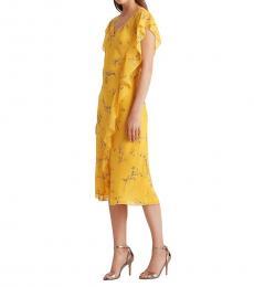 Ralph Lauren Yellow Floral Georgette Dress