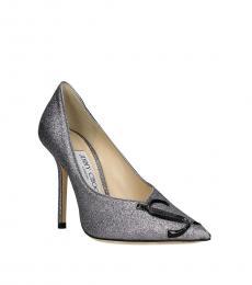 Jimmy Choo Grey Love Glitter Heels