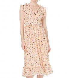 Betsey Johnson Peach Printed Flounce Midi Dress