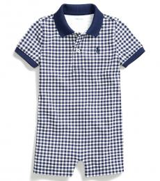 Ralph Lauren Baby Boys Dark Cobalt Gingham Polo Shortall