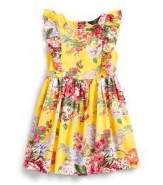 Ralph Lauren Little Girls Yellow Floral Ruffled Dress