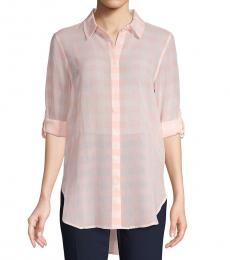 Peach Gingham Button-Front Shirt