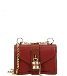 Chloe Red Aby Lock Mini Shoulder Bag