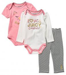 Juicy Couture 3 Piece Bodysuits/Pants Set (Baby Girls)