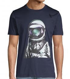 Hugo Boss Navy Blue Graphic Cotton T-Shirt